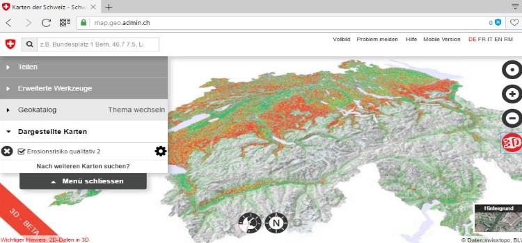Erosionsrisikokarte der Schweiz mit AVErosion